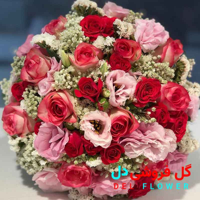 دسته گل عروس صورتی